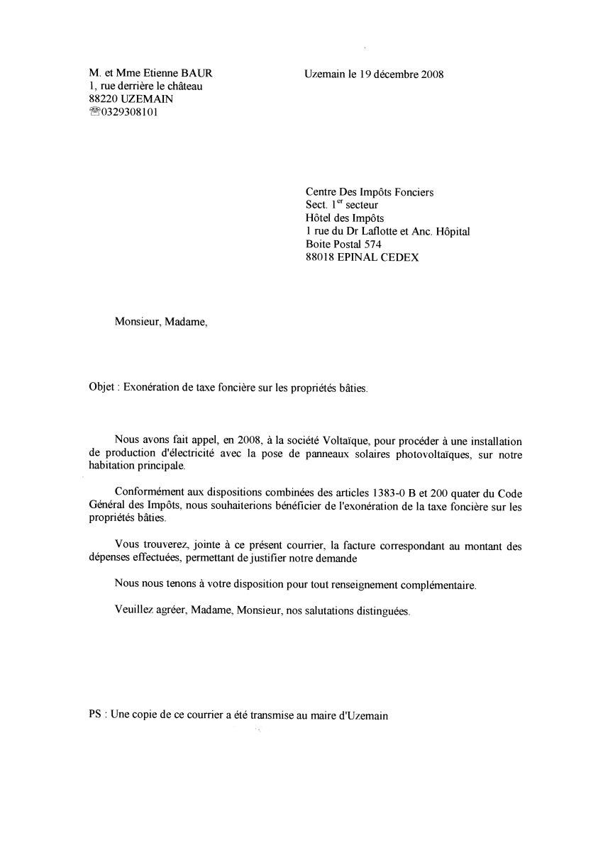 lettre impots Lettre au centre des impots fonciers lettre impots